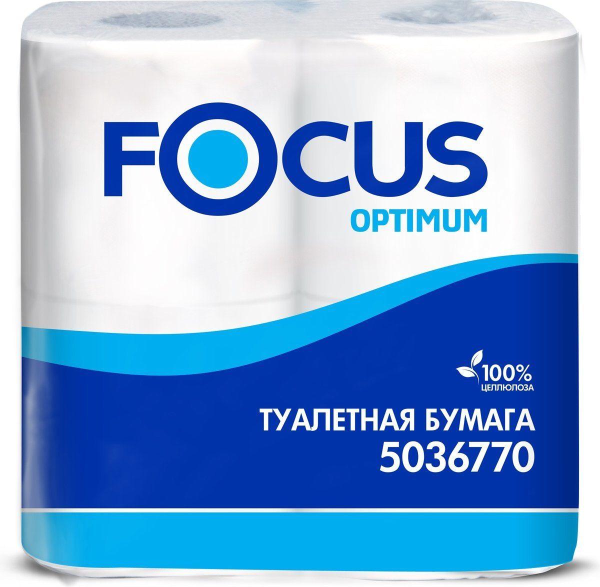 Туалетная бумага FOCUS OPTIMUM  2сл, 22м, 180л, 4 шт 1/14